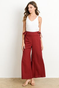 Wine Side Grommet Lace-Up Tie Pants