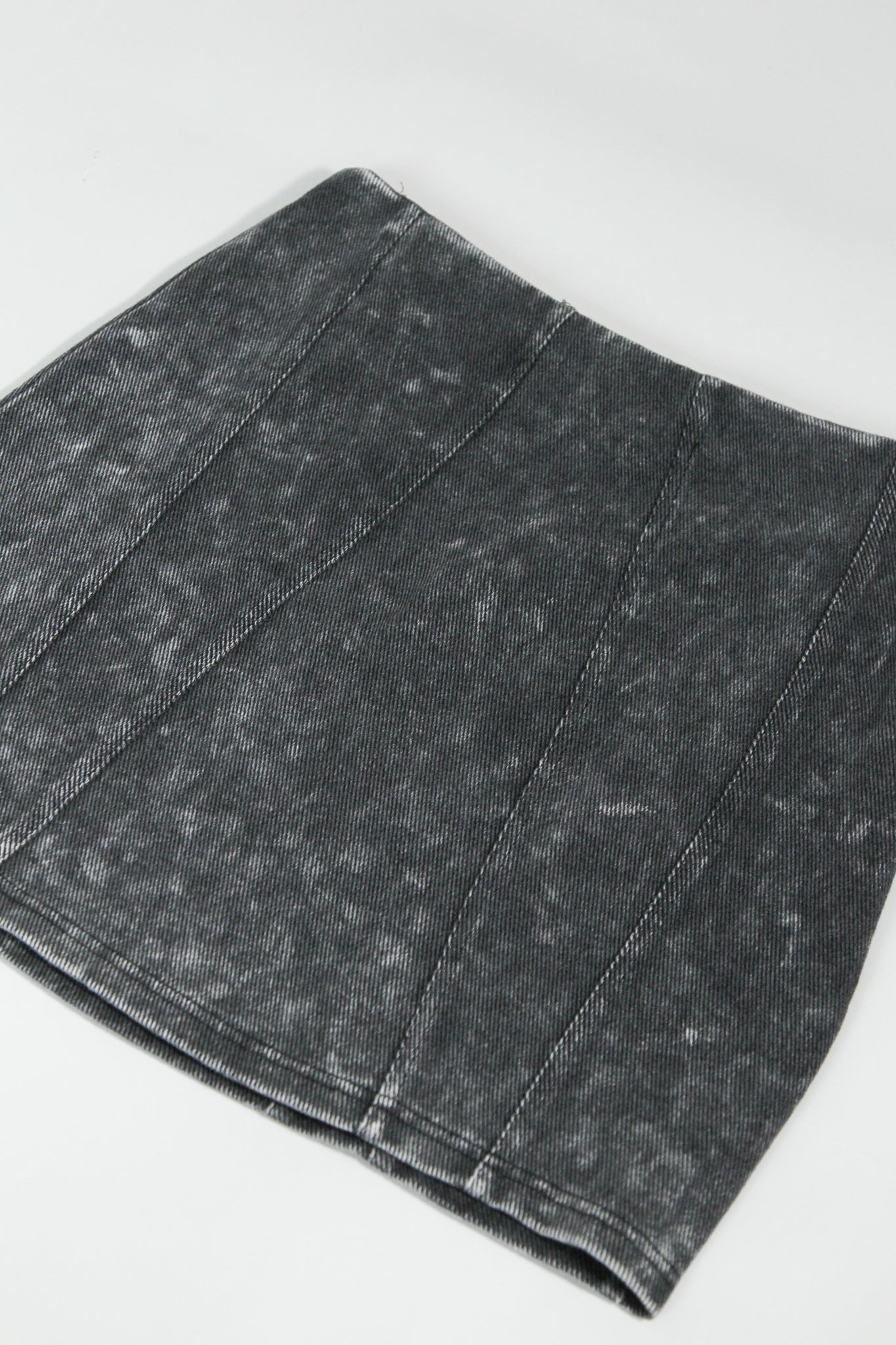 Garment Washed Woven Mini Skirt
