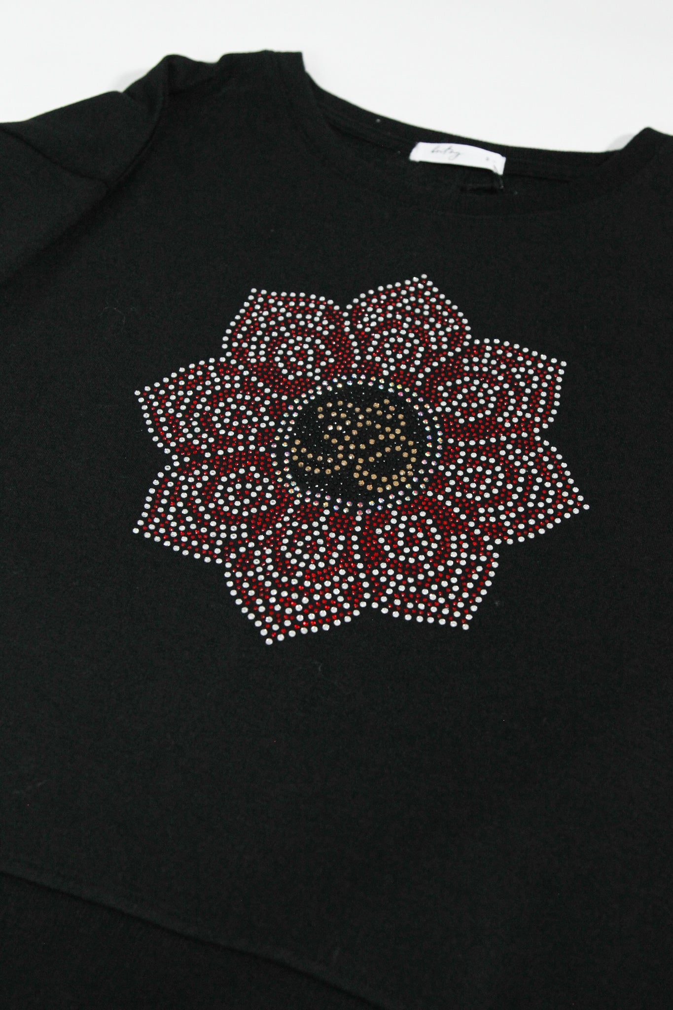 Flower Studded Black Sweatshirt
