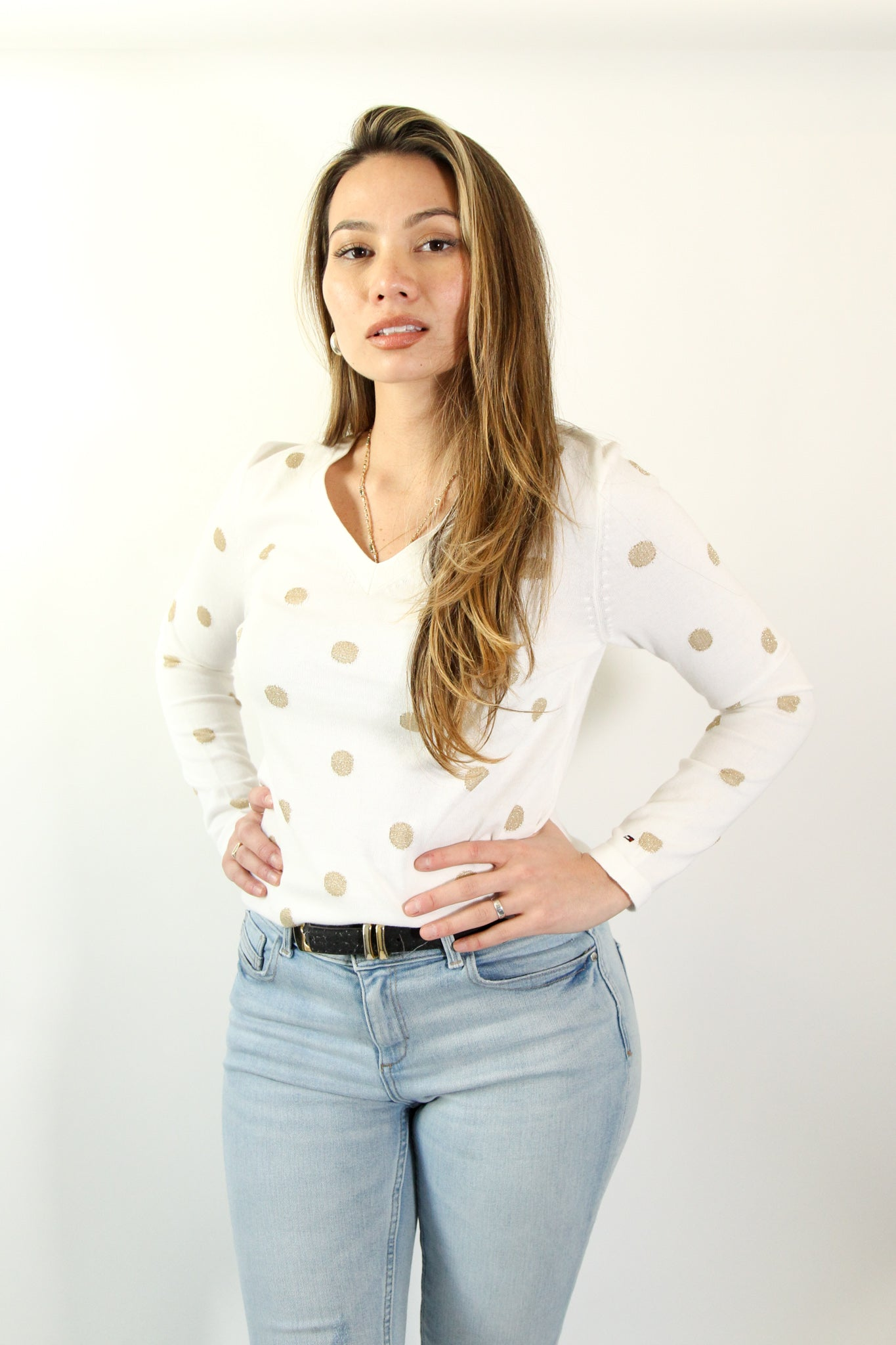 Tommy Hilfiger White Sweater with Gold Polka Dots