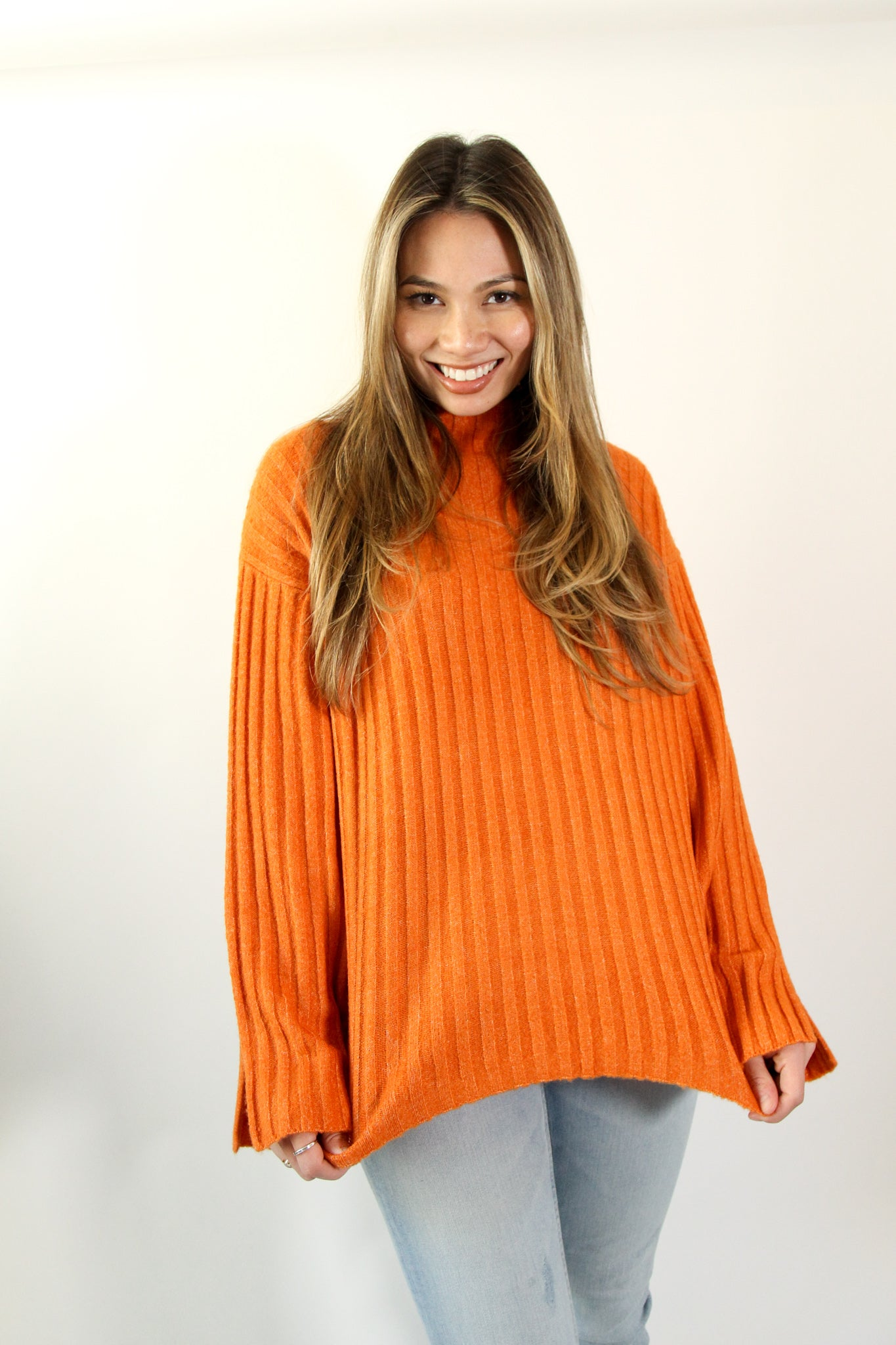 Orange Turtleneck sweater