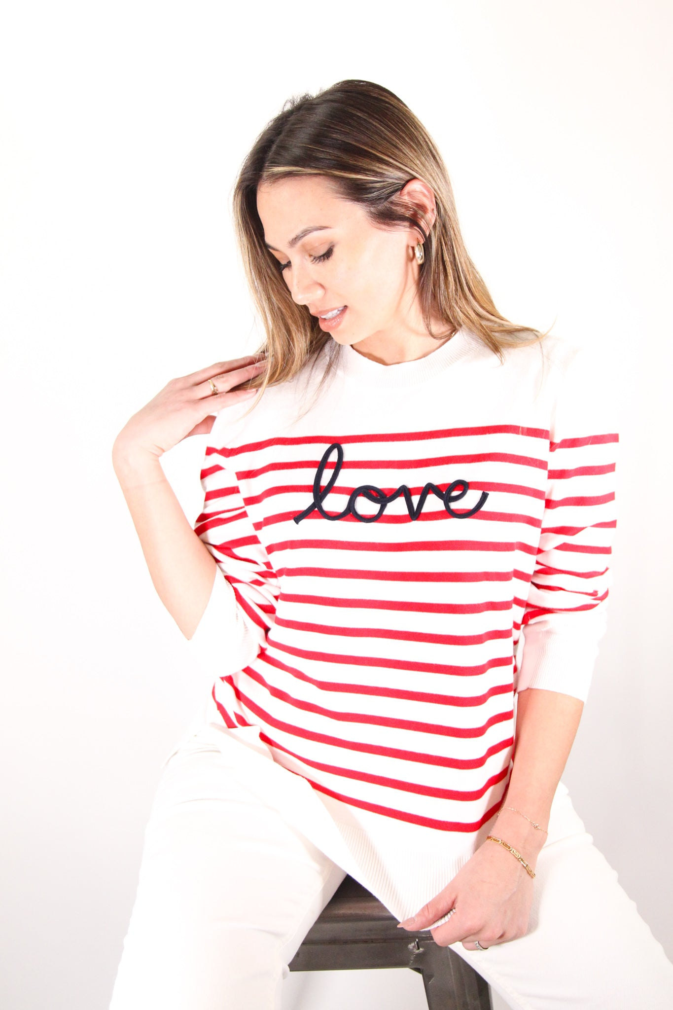 Red Stripe Love Sweater