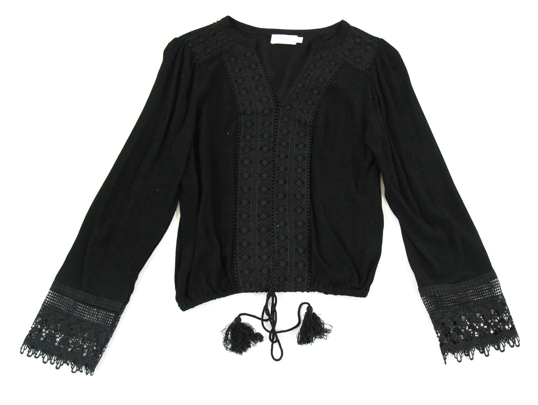 V-Neck Tassel Blouse