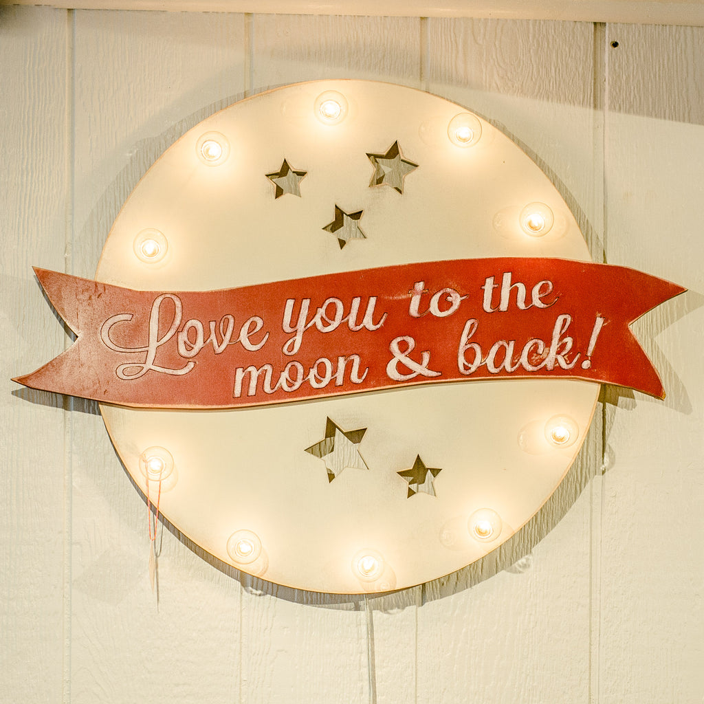 Red & Silver Love You To The Moon & Back Sign
