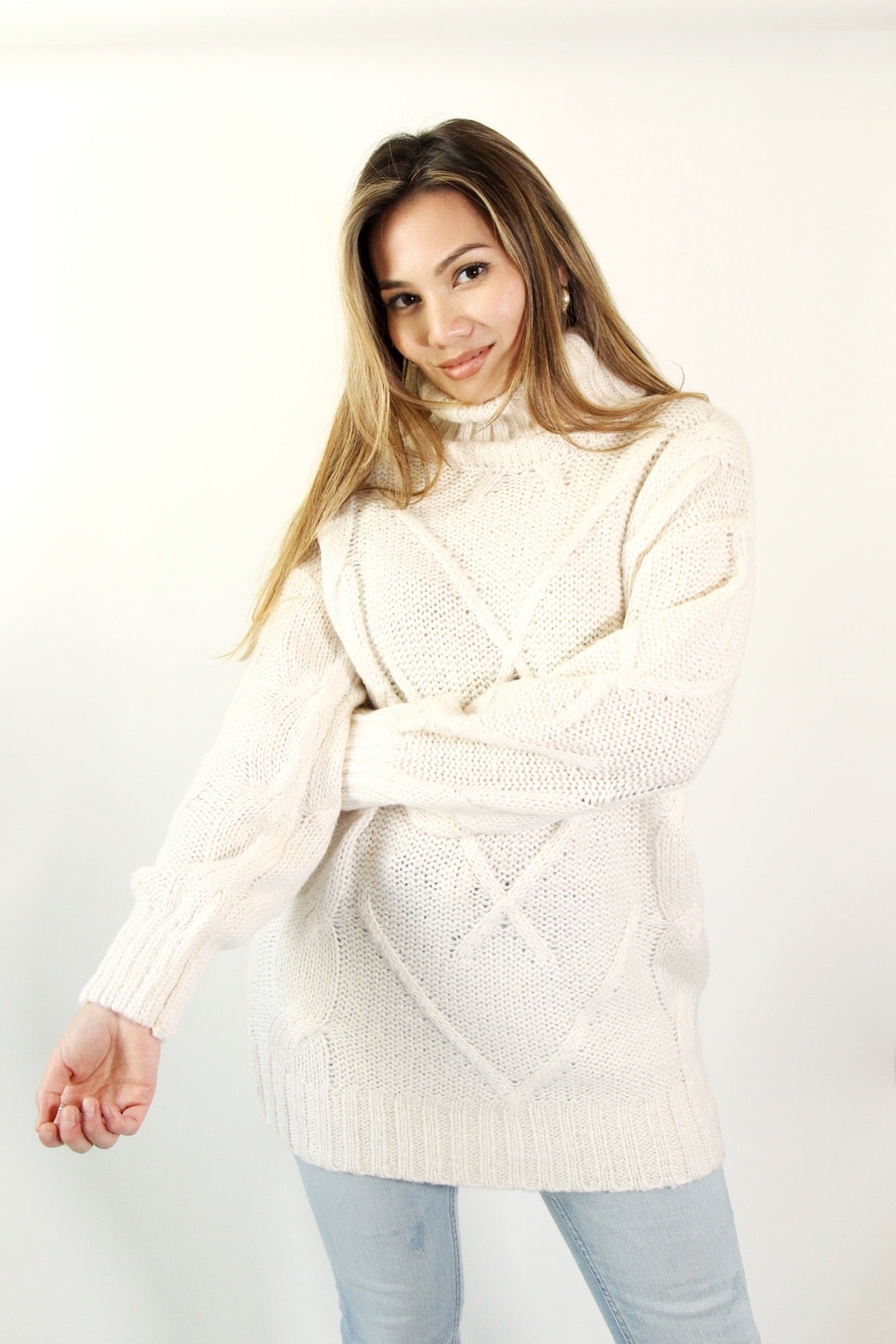 Long Ivory Cable Knit Sweater