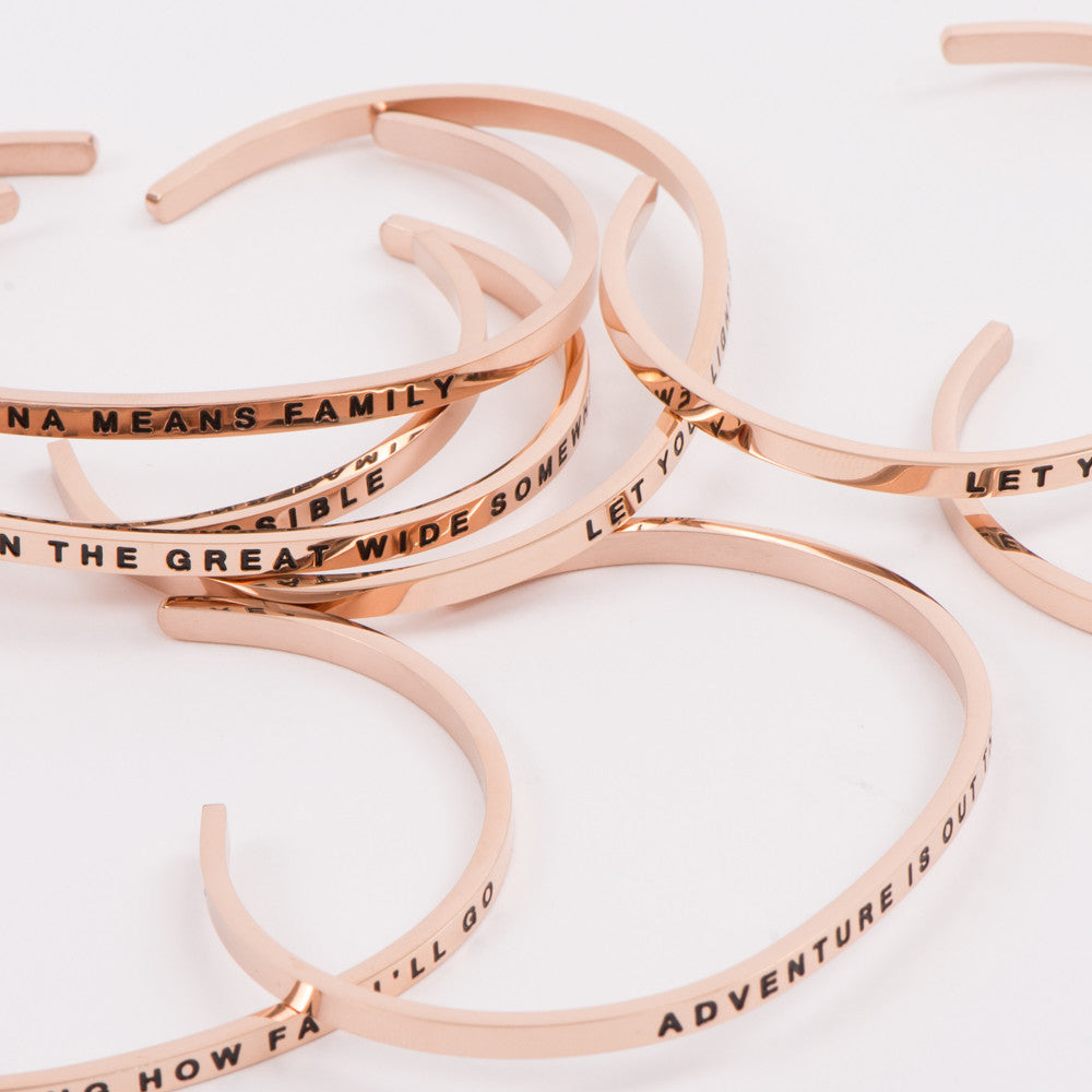 Rose Gold Thin Bracelet Inspirational Quotes