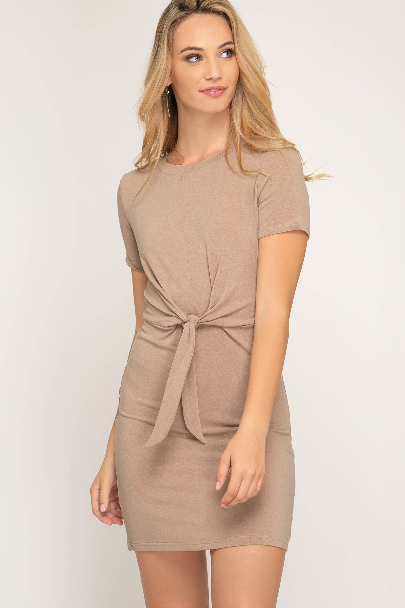 Silky Soft Mini Dress With Front Tie
