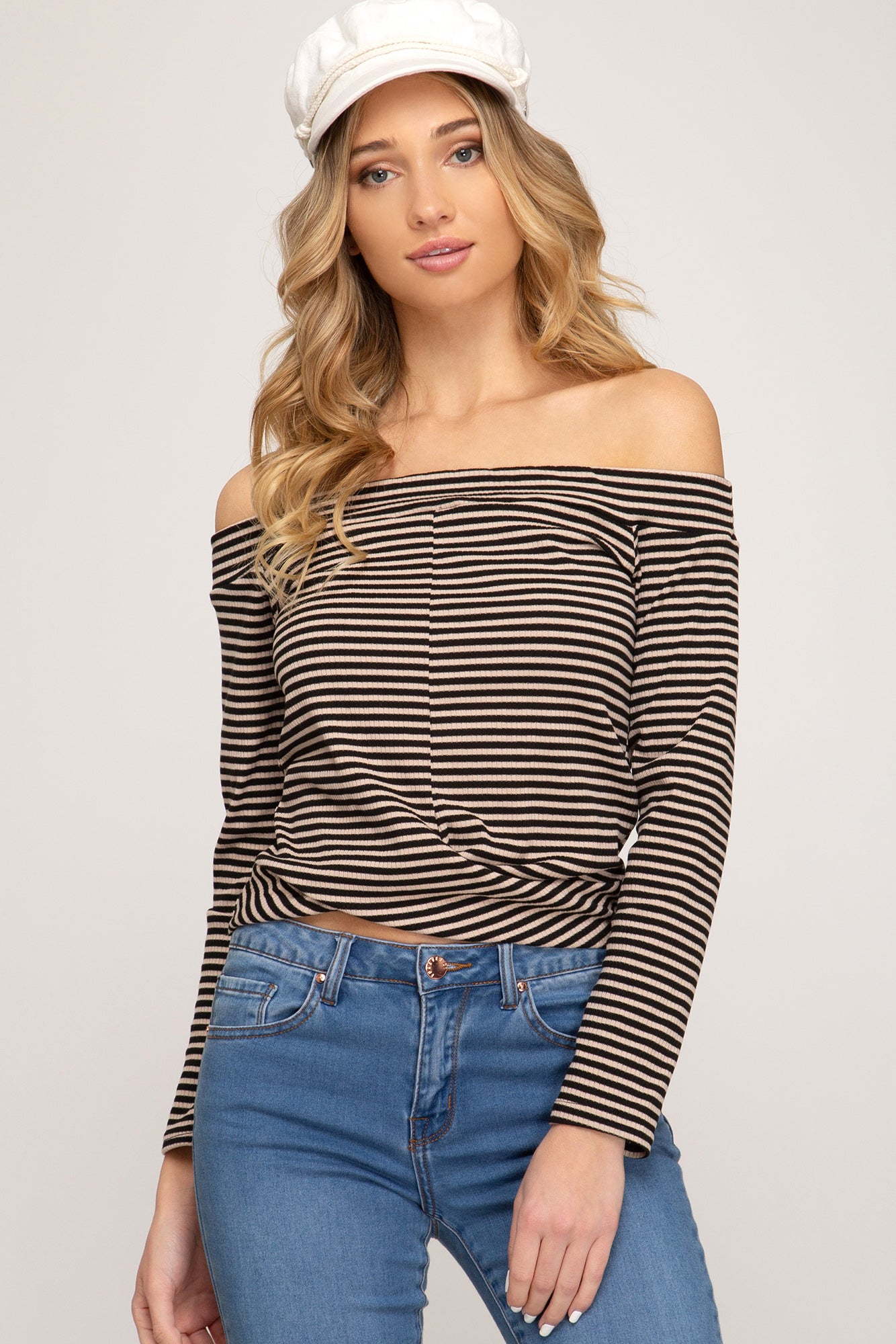 Off Shoulder Striped Crop Top