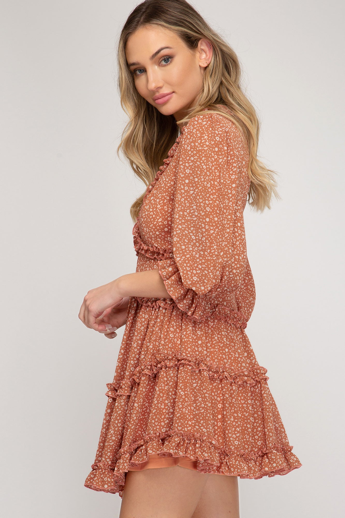 Printed Tiered Ruffle Dress