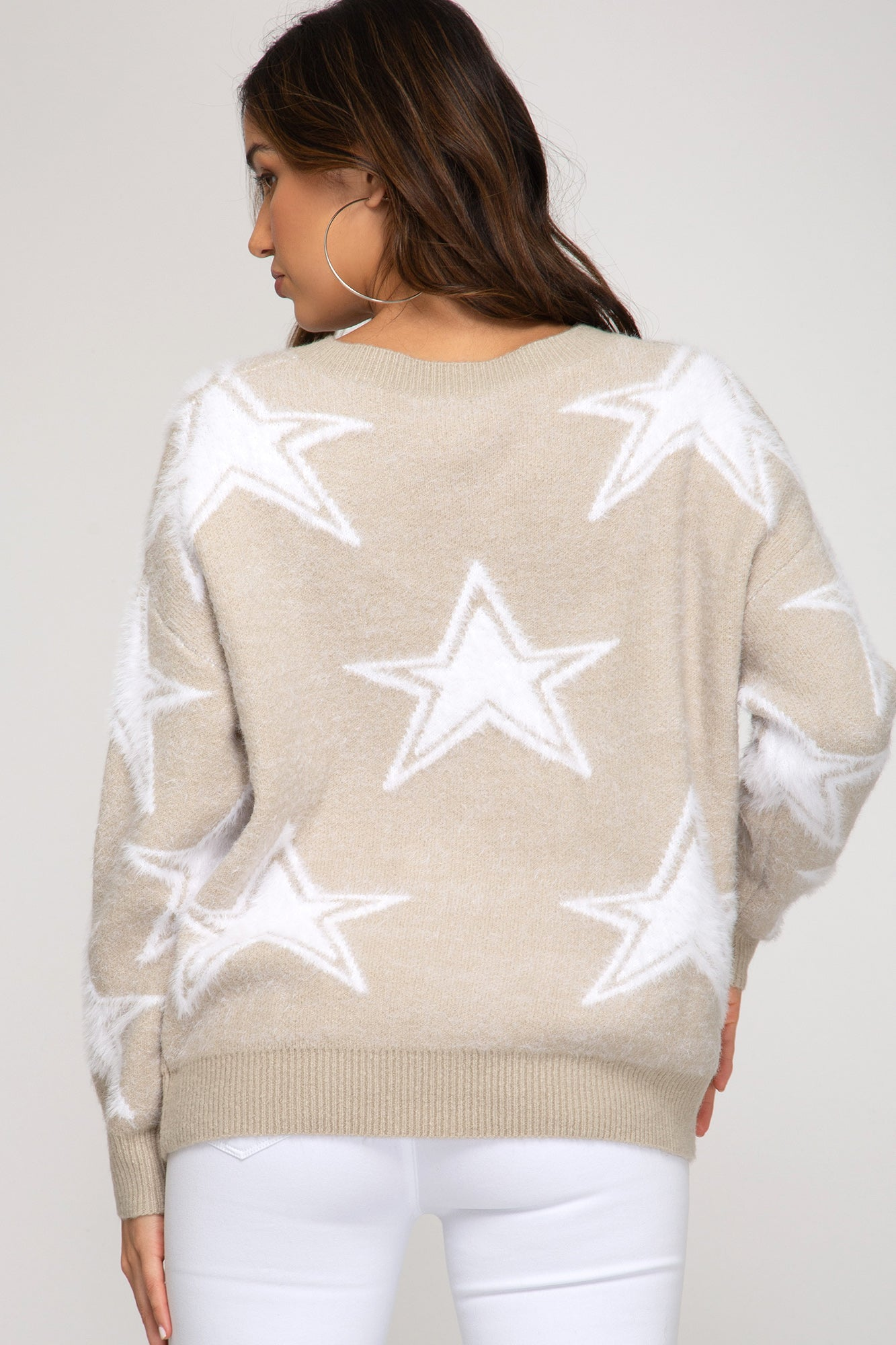 Long Sleeve Star Printed Knit Sweater
