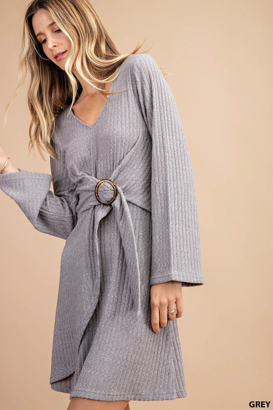 Grey Dress W/ Wood Buckel