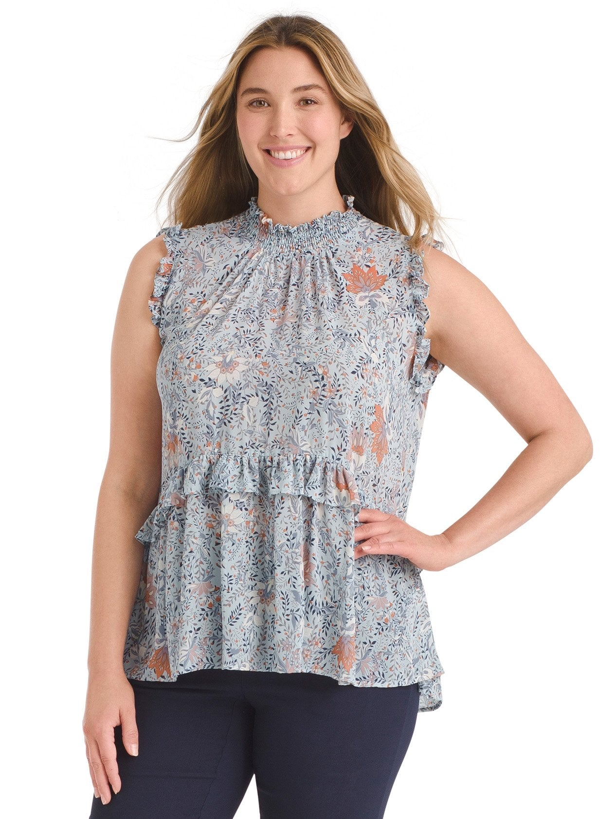 Smock Neck Ruffle Top