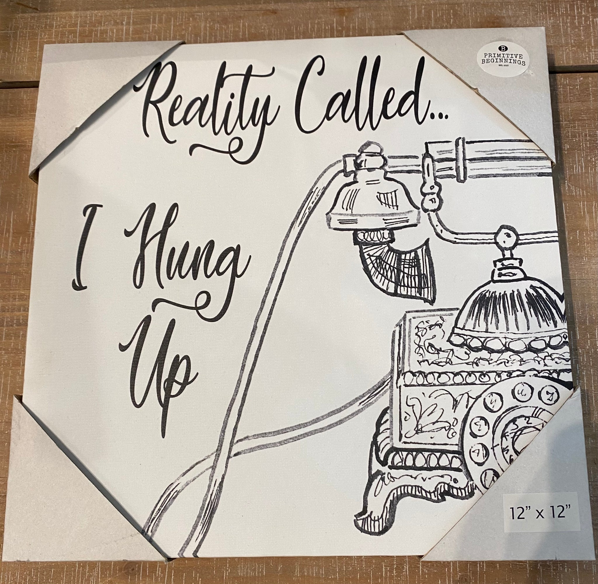 """Reality Called I Hung Up"" 12 x 12 Canvas Picture"