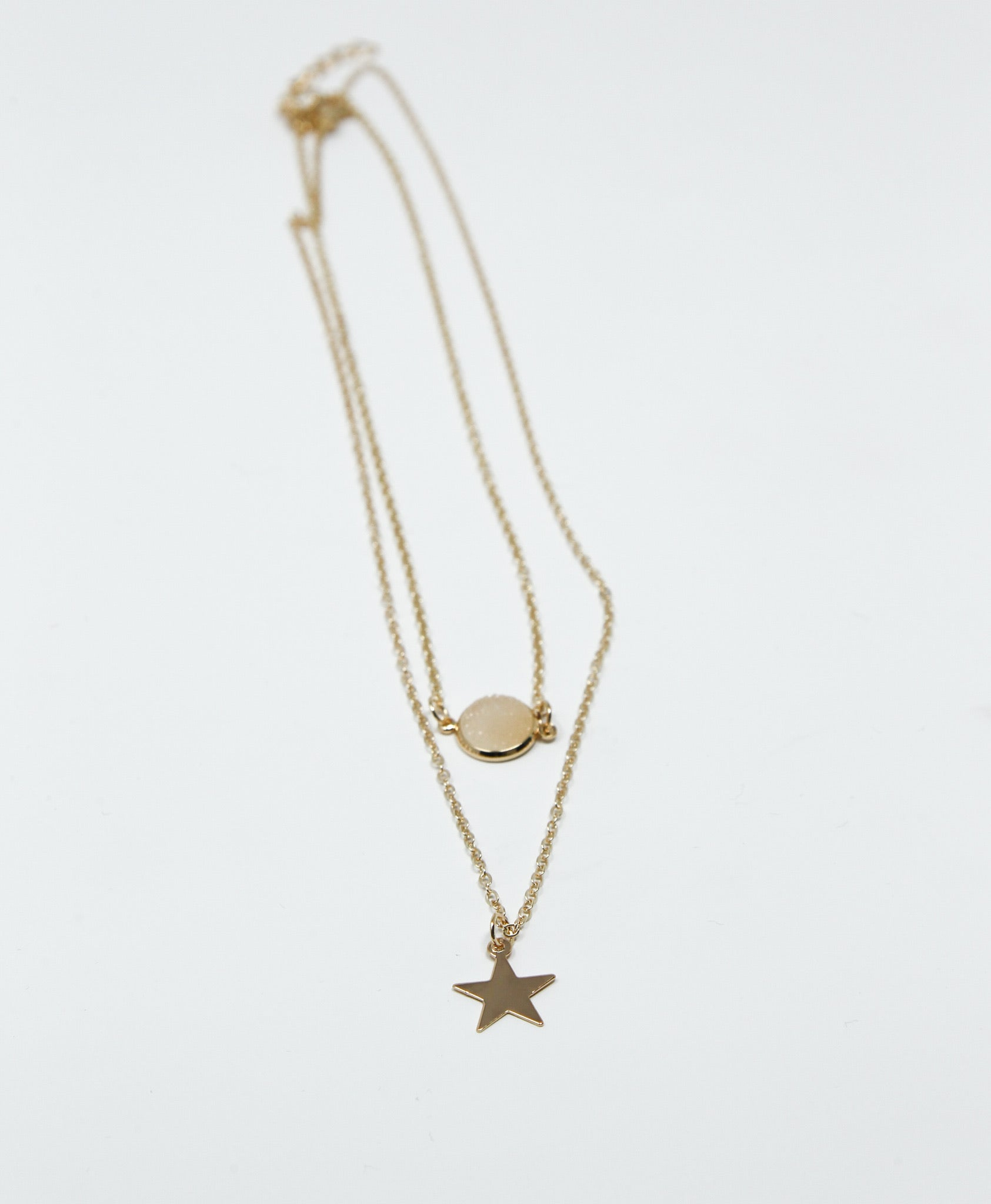Star and Circle Double Chain Necklace