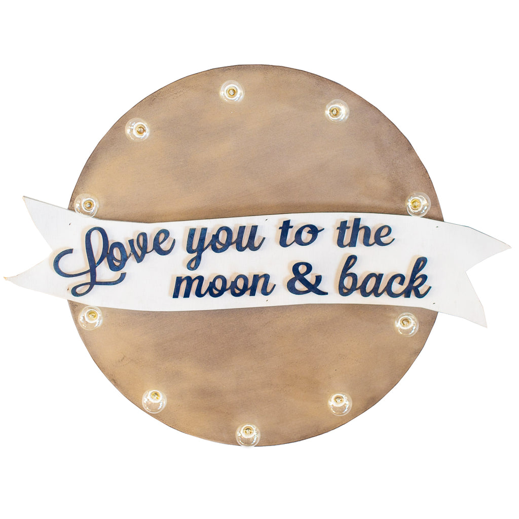 Love You To The Moon & Back Silver Sign