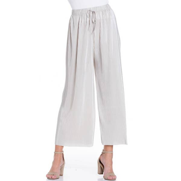Pleated Bodre Wide Leg Pants