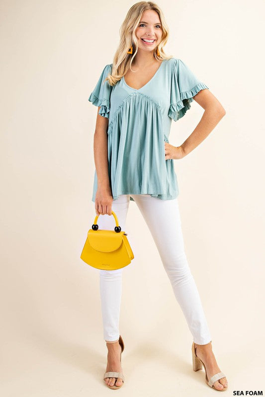 Bell Sleeve with Ruffle Top