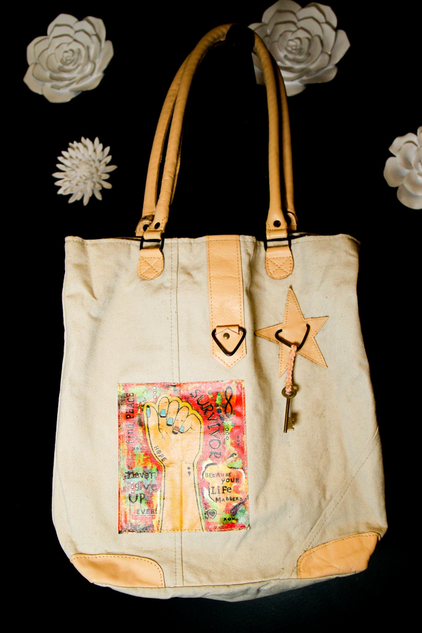 Vintage Addiction Survivor Canvas Tote