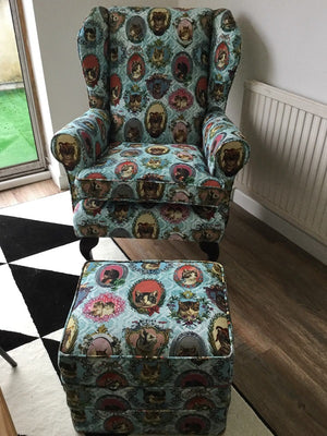 Reupholstered Armchair & Footstool using Vintage Cat Fabric