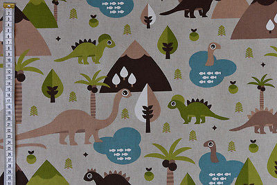 Dinosaur Children's Fabric with T Rex & Brachiosaurus
