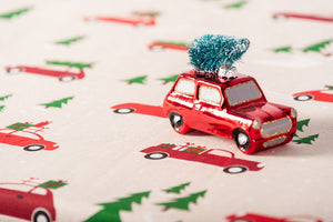 Christmas Cars Fabric - Red Cars & Trucks with Christmas Trees on their Roofs. Beige Background
