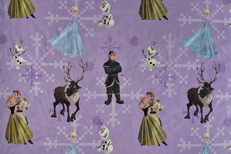 Frozen Fabric with Elsa, Anna, Olaf, Sven and Kristoff