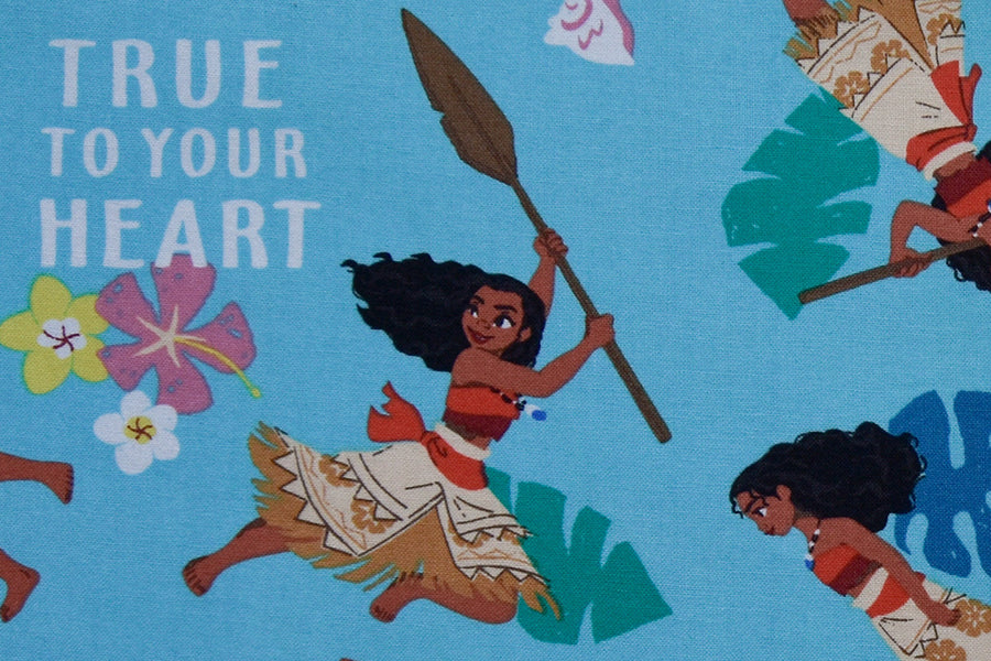Disney Moana Fabric - True To Your Heart. Blue, 100% Cotton