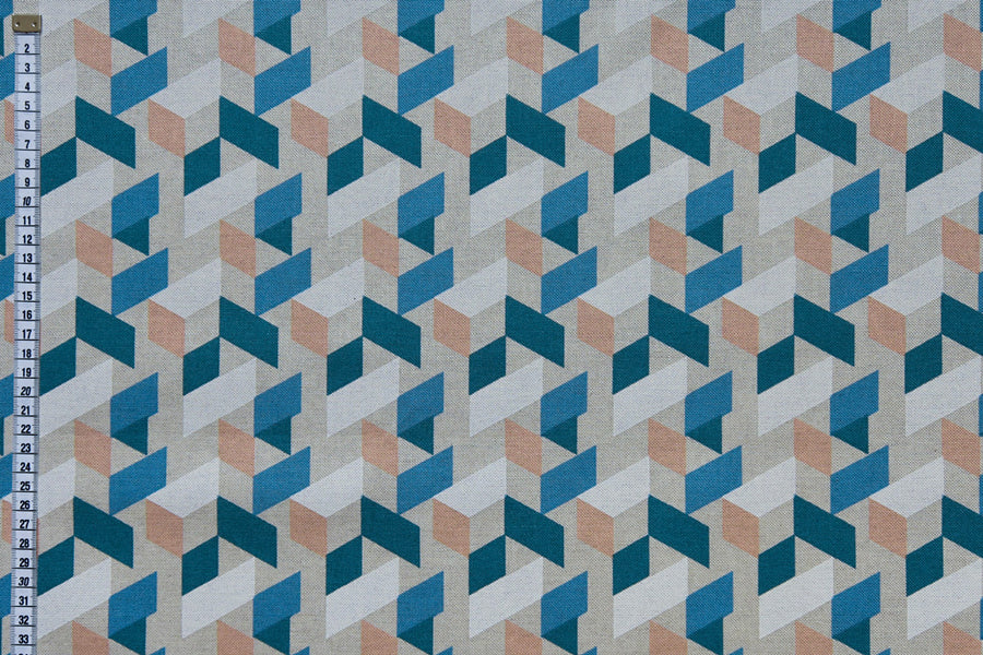 Geometric Fleck Printed Fabric - Blue, Orange & White