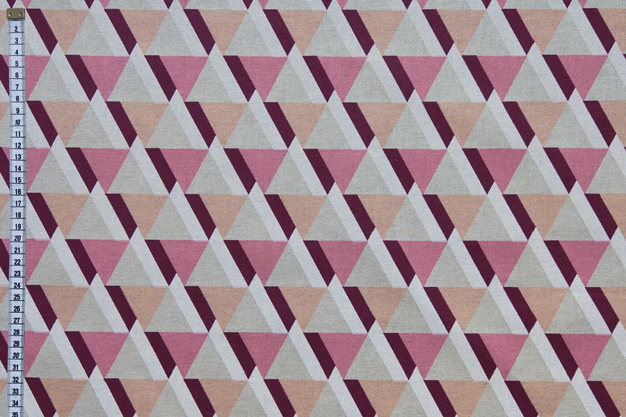 Geometric Trinity Printed Fabric - Pink, Orange & White