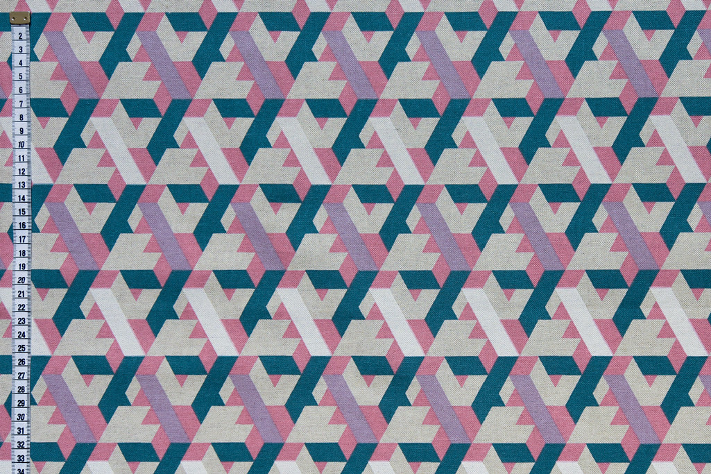 Geometric Abstract Print Fabric - Pink, Purple, White & Teal