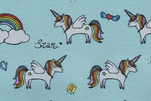 Rainbow Unicorn Fabric - Children's Fabric, Light Blue Background