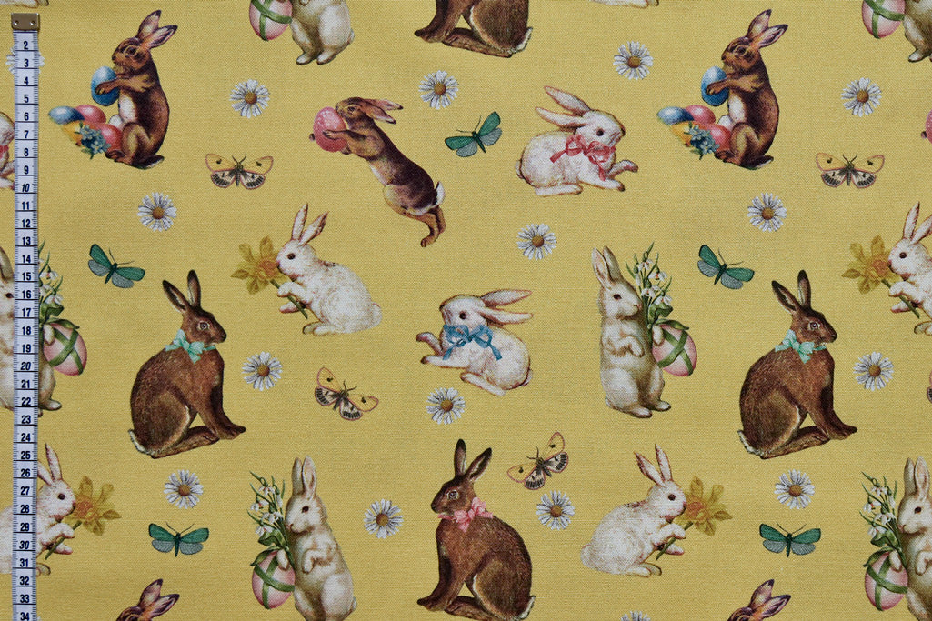 Vintage Easter Fabric - Bunny Rabbits, Easter Eggs, Daffodils and Spring