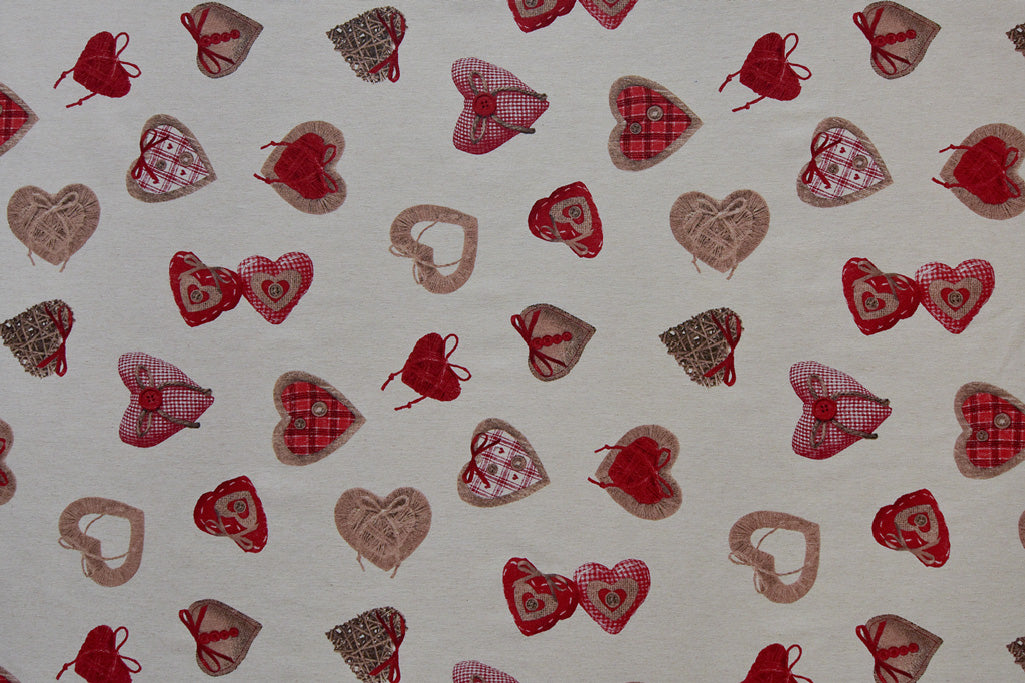 Large Heart Print Fabric - Valentine, Love