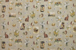 Easter Fabric - Bunny Rabbits, Chicks, Eggs & Spring Flowers.