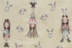 Gorgeous girl with Bunny Fabric - Cream Background