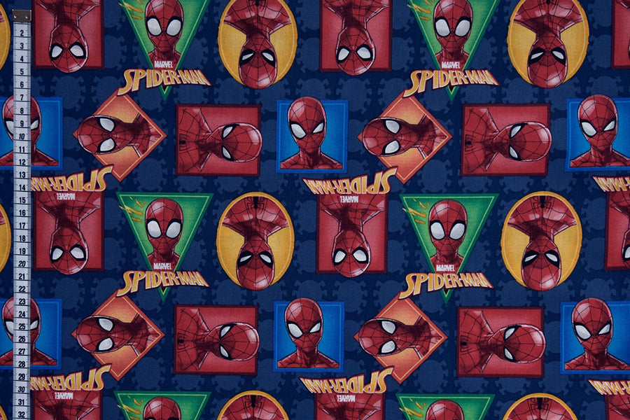 Spiderman Fabric - Spider-Man portraits, Blue Background