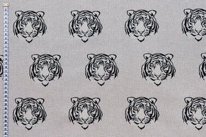 Tiger Face Fabric - Tigers Faces Printed on Natural Looking Fabric