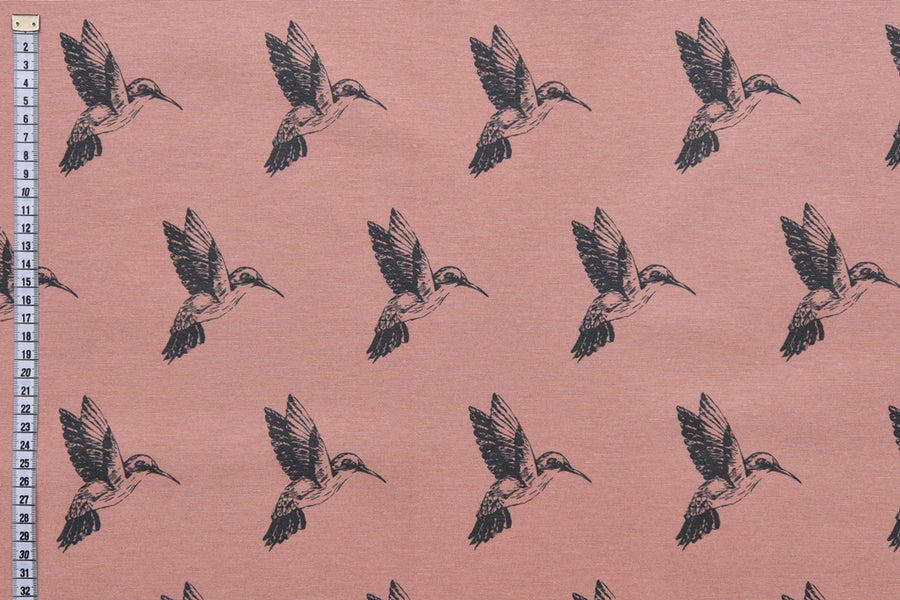 Hummingbirds Pastel Fabric - Salmon Coloured Background