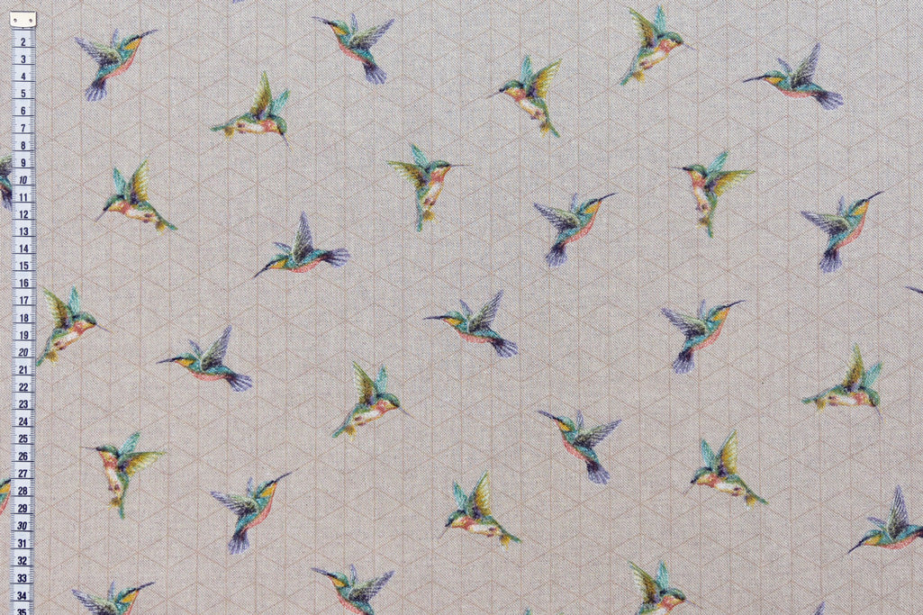 Gorgeous Hummingbirds Fabric - Linen Look, Mixed Cotton Fabric
