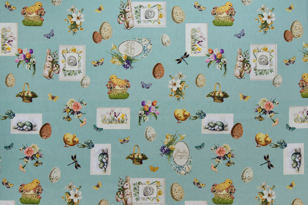 Vintage Happy Easter Fabric - Pale Green with Bunny Rabbits & Chicks