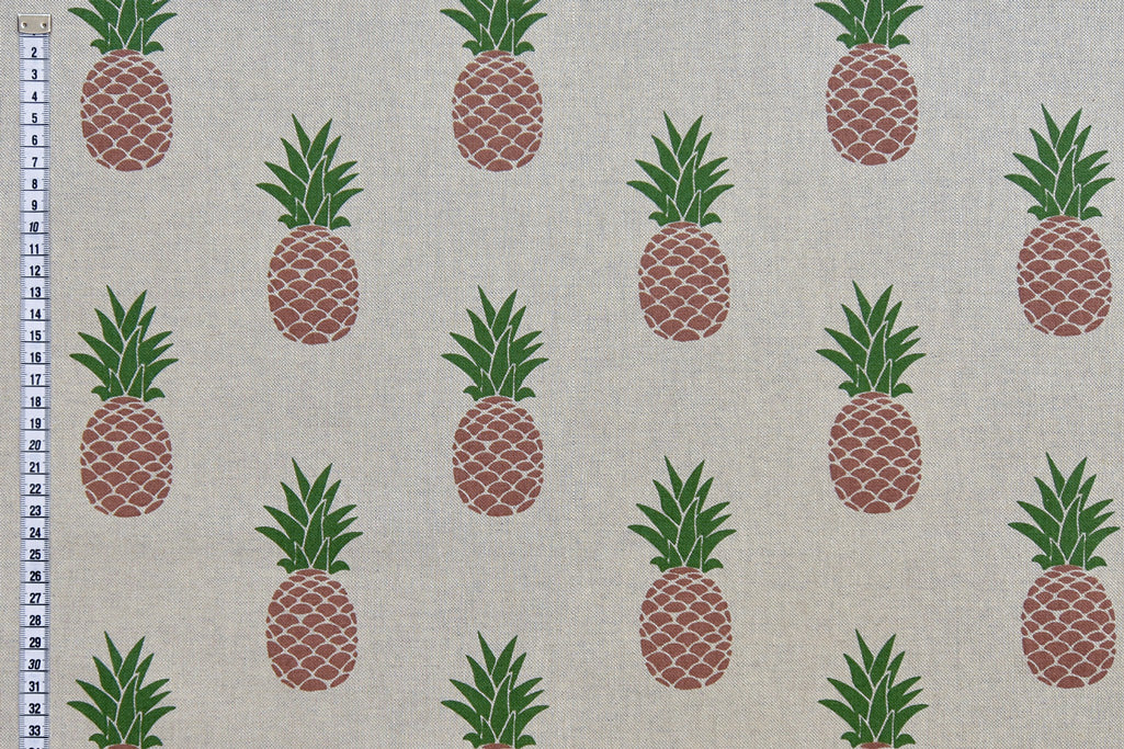 Pineapples Fabric - Tropical Design on Linen Look Fabric