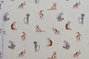 Shabby Cats Fabric - Ginger and Grey Cats, Linen Feel Fabric, Beige Background