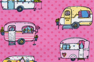 Caravan Holidays Fabric - Brightly Coloured Fun Caravans