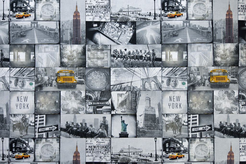 Real Life Images of New York Fabric - Digital Print, Grey and White with a Splash of Yellow