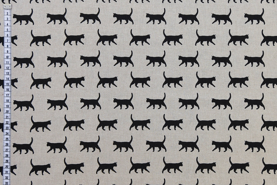 Black Cat Fabric - Beige Background, Mixed Cotton