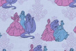 Disney Princess Friends Fabric - Tiana, Rapunzel, Snow White, Belle, Ariel & Cinderella