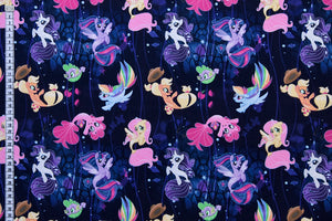 My Little Pony Fabric - Pony Adventures. Bright Coloured Ponies on a Black Background