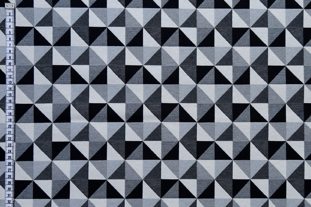 Black & White Geometric Fabric - Large Diamond Design, Upholstery Fabric