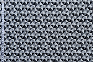 Geometric Black & White Woven Fabric - Small Diamond Design