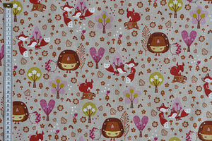 Fantasy fox and hedgehog fabric with trees and flowers